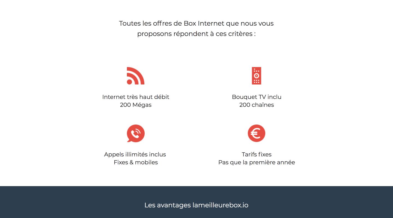 Page de destination client télécoms